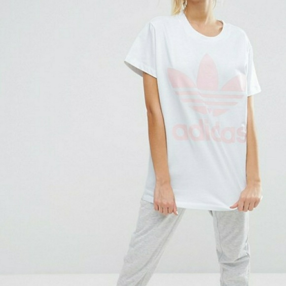 Adidas Originals Big Trefoil Tee In White And Pink